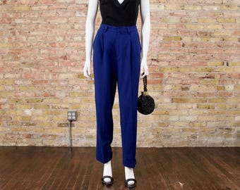 blue wool trousers / minimalist / 90s pleated pants / ellen tracey / slouchy pants / wool trousers / small / high waist pleat / high rise