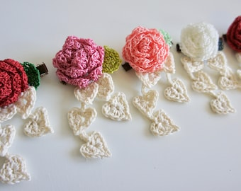 Rose and White Heart Hair Clips