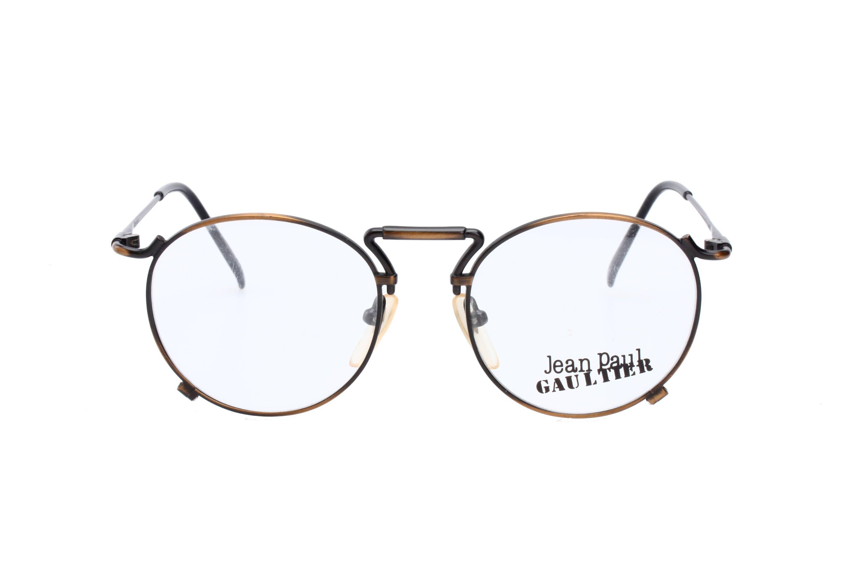 ec1e8168076d Jean Paul Gaultier 55-8174 ultralight round antiqued brass metal steampunk eyeglasses  frames
