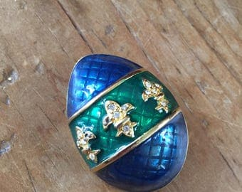 Gold tone Enamel Faberge Egg Brooch Pin with Rhinestones and Blue and Green enamel