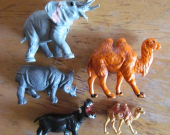 Lot of 5 Vintage Plastic Animals Camels Elephant Rhino and Hippo