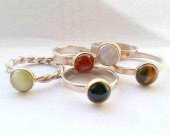 Carnelian Stone Ring - Orange Carnelian Gemstone Ring - Everyday Ring - Silver Rings For Women -  Gifts For Women - Gifts For christmas