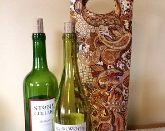 Wine Tote - Wine Bag - Wine Tote Bag - Wine Gifts - Wine Bottle Holder - Wine Bottle Tote - Wine Holder - Fabric Wine Tote - Wine Gift Bag