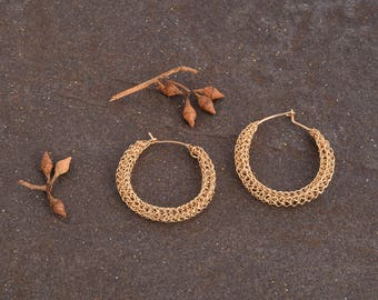 Gold Hoop Earring, Small Hoop Earrings - Medium Gold Earring-Boho Earring ,14K Gold filled,Unique Hoop Earrings,Gypsy Bohemian, Wire Jewelry