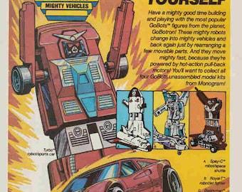 1985 Advertisement Go Bots Motorized Model Kits Monogram Retro Vintage Wall Art Decor Action Figures Gift for Him Birthday Christmas