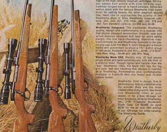 1976 Advertisement Weatherby Rifles Retro Vintage Wall Art Decor Guns Shooting Hunting Gift for Him