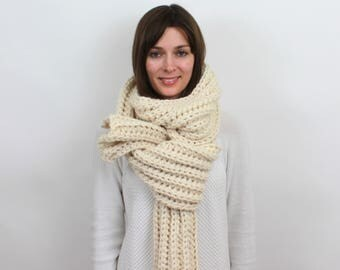 Giant Chunky Knit Scarf Wool Scarf | THE JUNEAU in Snow