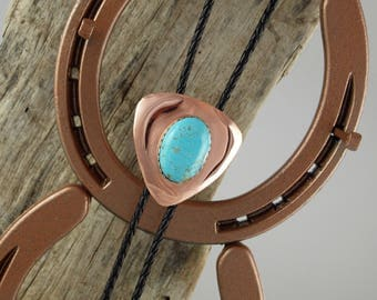 Western Bolo Tie - Kingman Turquoise Bolo Tie - Cowboy Bolo Tie - Handmade Bolo Tie - Copper & Silver with a Kingman Turquoise Stone
