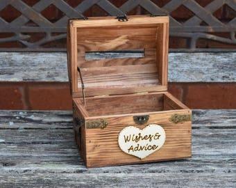 Wedding Advice Box with Slit - Wedding Chest - Wishing Well - Wedding Guest Notes - Rustic Wedding - Shabby Chic Wedding Wedding Guest Book