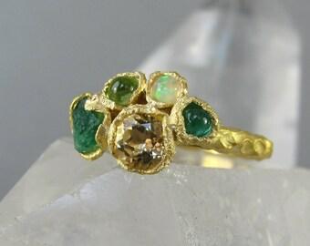 Gemstone cluster ring, raw emerald ring, statement ring, textured gold ring, welo opal ring, peridot ring, mermaid boho silver gem ring