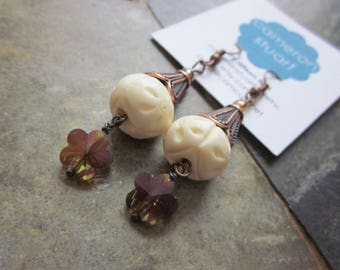 Copper and Carved Bone Earrings