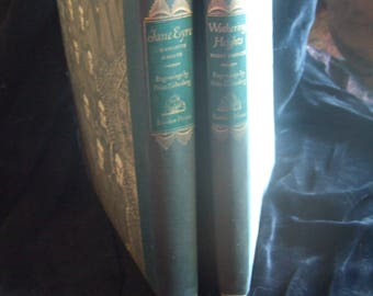 Jane Eyre & Wuthering Heights by Charlotte Bronte and Emily Bronte 1943 2 Vol. Classic Set Random House Illus by Fritz Eichenberg