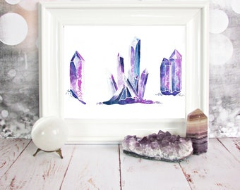 PRINT Purple Crystals Watercolour Painting 8 x 10 or 11 x 14