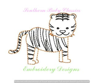 Tiger Vintage Bean Quick Stitch Line Work Design File for Embroidery Machine Instant Download Cute Baby Girl Boy Hand Stitched Look