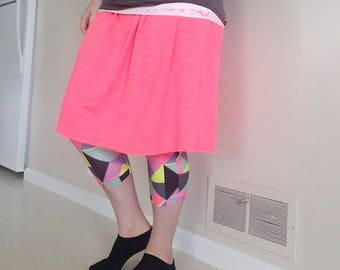 Bright Pink Exercise/Swim Skirt with Colorful Geometric Shape Leggings
