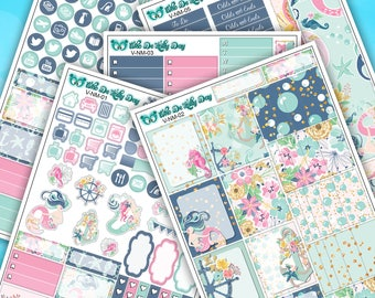 Summer Nautical Beach Mermaid Weekly Sticker Kit // 5 Page Planner Stickers // Vertical Planner