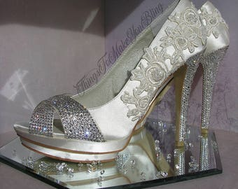 Hand Embellished Swarovski Crystal Menbur Wedding Bridal Shoes Bespoke One Of A Kind UK Size 5 (EU 38)