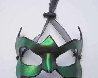 Green Leather superhero mask