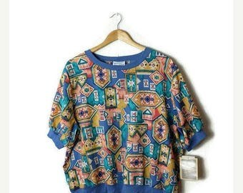 ON SALE Vintage Navajo/tribal inspired Pattern Short sleeve Slouchy Blouse  from 1980's*