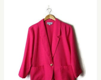 ON SALE Vintage Oversized Vivid Pink Slouchy Blazer from 80's*