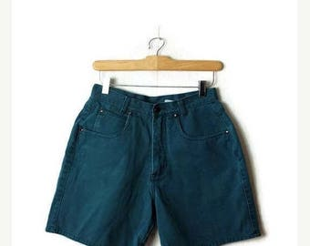 ON SALE Vintage Bluish Green High waisted  Denim Shorts from 90's/W25*