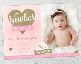 Newborn Photography Marketing Board, Photoshop, Newborn Marketing, Newborn Mini Session, Photoshop Templates for Photographers - 05-001-MB