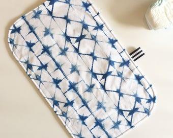 Portable changing pad - Shibori indigo - travel diaper bag - Japanese tie dye - navy blue cobalt - gender neutral baby shower gift