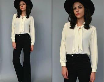 1990s eggshell necktie button down blouse