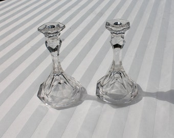 Pair of Glass Candle Holders for Thin Taper Candles