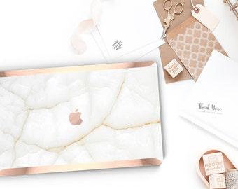 White Stone with Rose Gold Edge Hard Case for Apple Macbook Air Macbook Pro Retina New Macbook Pro Touch - Platinum Precious Stones