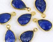 Natural Sapphire, Bezel Pears Shape Connector, 8x12mm Pears 24k Gold  Plated, Single Bail GemMartUSA (SH-10088)