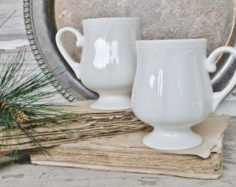 Vintage White Ironstone Coffee Cups Mugs Ribbed Footed Cup Restaurant Ware Farmhouse Decor Fixer Upper Style SET of 2