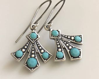Art Deco Turquoise and Oxidized Silver Earrings