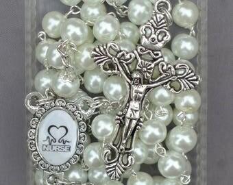 Nurse / Nurses - 8mm White Glass Rosary