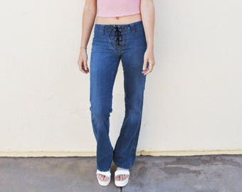 Low Rise Denim Lace-Up Flare Jeans