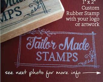"""Custom Logo Stamp, Rubber Stamp, Packaging Rubber Stamp, Business Stamp, 1"""" x 2"""" Wood Mounted"""
