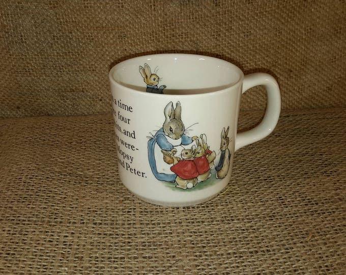 Beatrix Potter Designs Peter Rabbit cup from Wedgwood of Etruria and Barlaston vintage Peter Rabbit cup, vintage wedgwood china childs decor