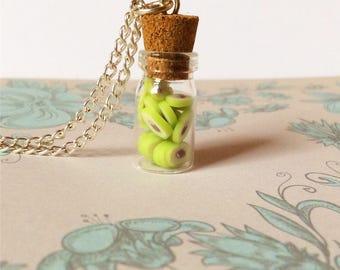 Avocado Necklace, bottle necklace, kawaii necklace, vegan necklace, fruit necklace, vegan gift, avocado jewelry jewellery, vegetarian gift