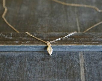 Simple Gold Leaf Necklace // Tiny Leaf Pendant on a 14k Gold Filled Chain / Nature • Feminine • Gift for Her