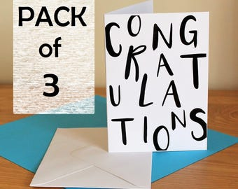 Congratulations cards, pack of 3, typographic, fun, text cards, pack of congratulations card, Congrats,