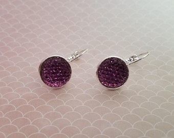 Purple Confetti Druzy Drop Earing