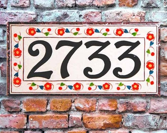 House number plaques, hand painted Italian house numbers, Porcelain ceramic house numbers, house numbers, house sign, Porcelain house signs