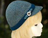 Winter Biking Cap | Wool Cycling Cap Short Brim | 6 Panel Wool Baseball Cap | Herringbone Tweed Hat in Blue Green Teal | Wool Kepi