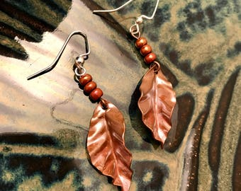 Copper Leaves Handmade Earrings