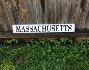 """Handmade, Wooden, Long Sign.""""MASSACHUSETTS"""". How great is this? Choose your state, give as a gift to family. Housewarming gift, family room."""