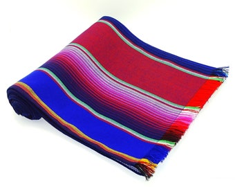 Mexican Table Runner Serape 14x91, Blue Sarape Fabric Table Cloth From  Mexico, Table Linen