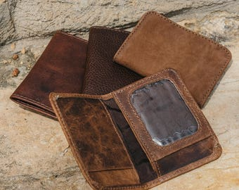 SALE!!!  Bifold Mens Leather Wallet with Coin Pocket and License Holder and extra cards