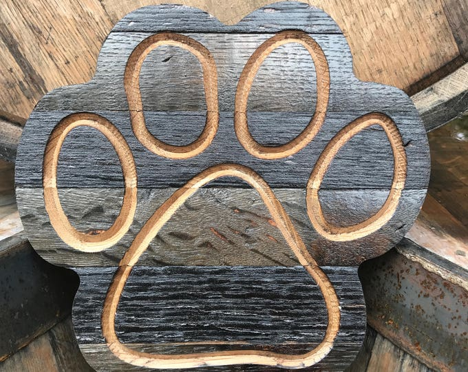 Paw Print Whiskey Barrel Cut Out