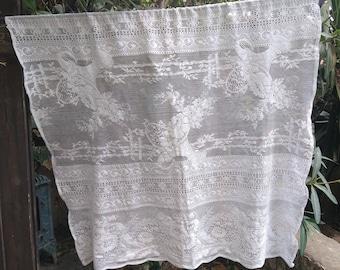 Vintage White French Floral Net Lace Curtain Flower Basket Wide Filet Panel Cotton Made Romantic Wedding Lace Panel #sophieladydeparis