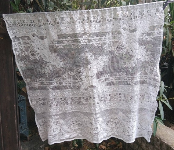 Vintage White French Floral Net Lace Curtain Flower Basket Wide Filet Panel Cotton Made Romantic Wedding Lace Panel #sophieladydeparis